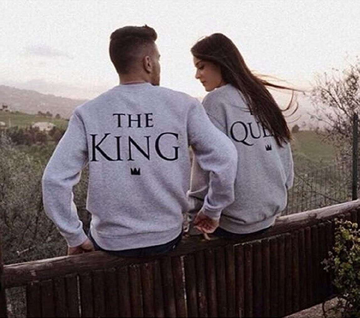 Ziwater Paar Pullover P/ärchen Sweatshirt Langarm Rundhals King und Queen Druck Pullover f/ür Herbst und Fr/ühling