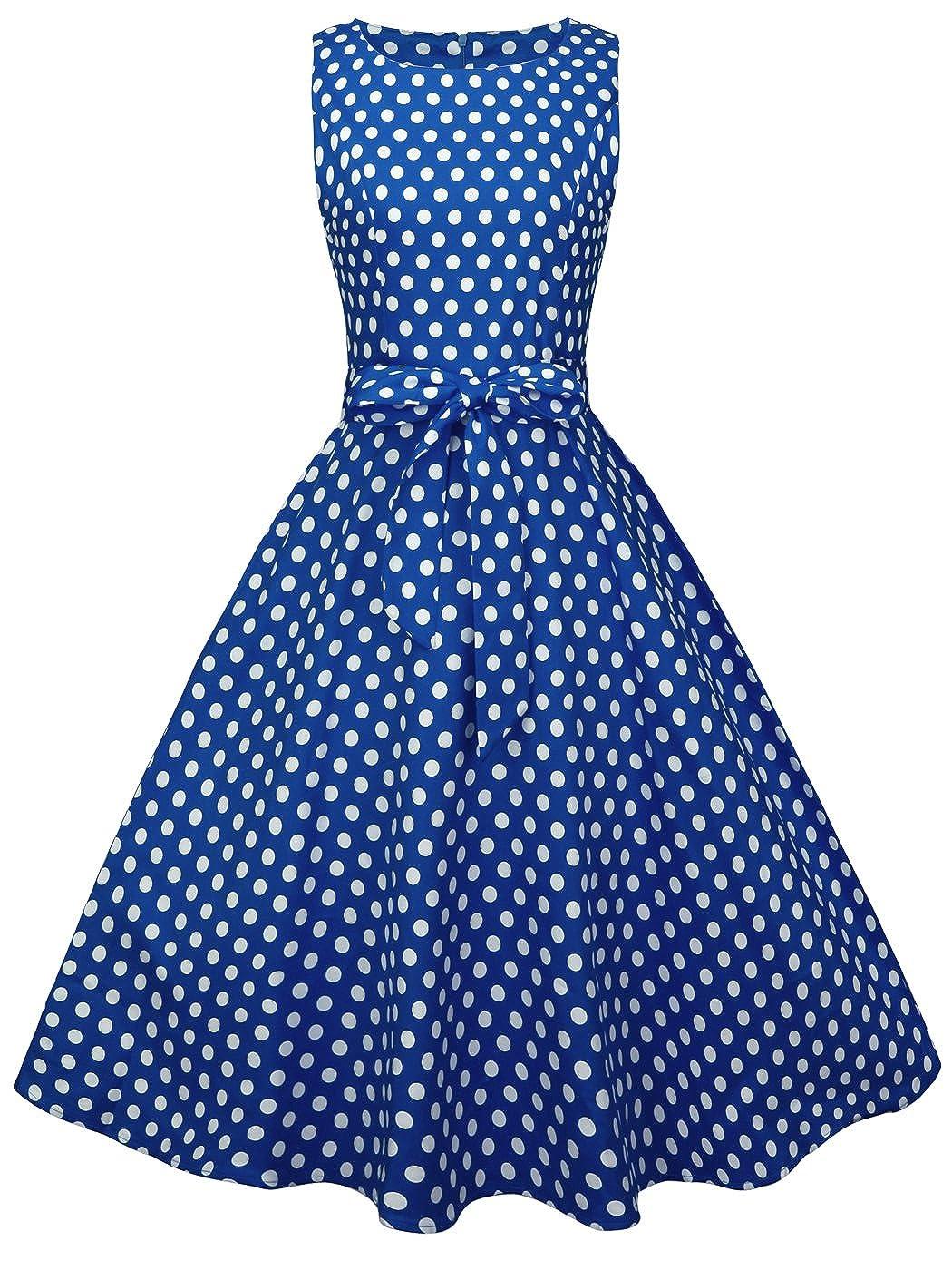 TALLA M. FAIRY COUPLE 50s Vestido de Partido Floral Retro del Oscilación del Cóctel del Vintage con el Arco DRT017 Azul Real Pequeña Blanco Puntos M