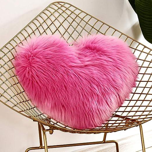 Lionina - Cojín de Pelo sintético Mullido, 40 x 50 cm, Liso, con Forma de corazón, Ideal para Decorar el sofá del Coche, F, Tamaño Libre
