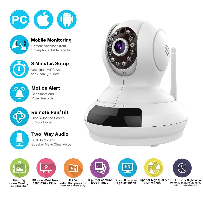 Amazon com: Edeep Wifi Wireless Ip Camera HD 720P Security