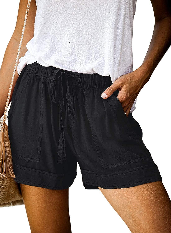 Womens Comfy Drawstring Casual Elastic Waist Pocketed Loose Fit Shorts