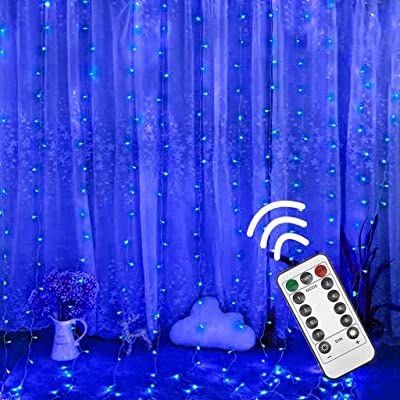 Lightning, Curtain Stripe Lights, 300LED 8 Modes Fairy String Lights Decora Indoor Outdoor Clear (Blue): Clothing
