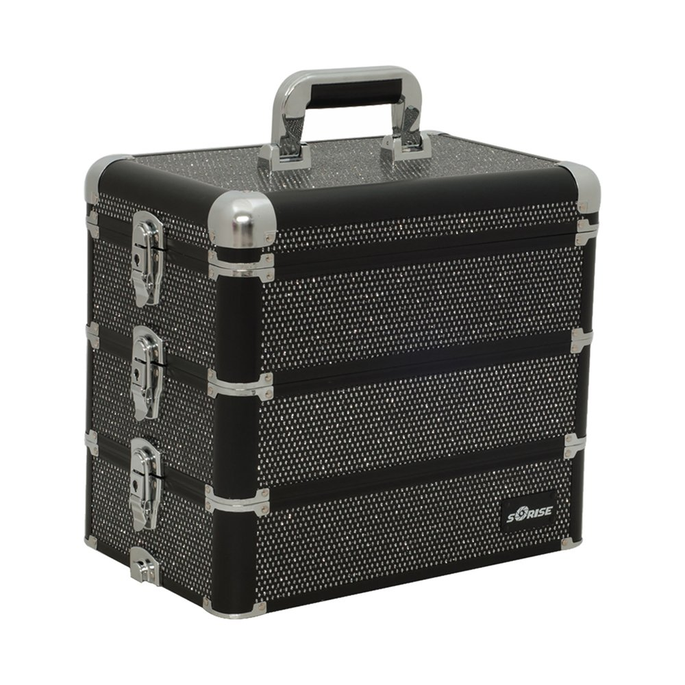 Sunrise I3366 Professional 4-in-1 Rolling Makeup Artist Cosmetic Train Case Organizer Storage, Krystal Black by SunRise