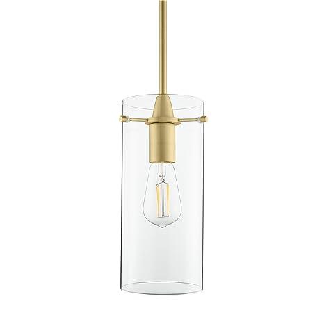 Effimero Large Hanging Pendant Light | Satin Brass Kitchen Island Light,  Clear Glass Shade LL-P315-SB