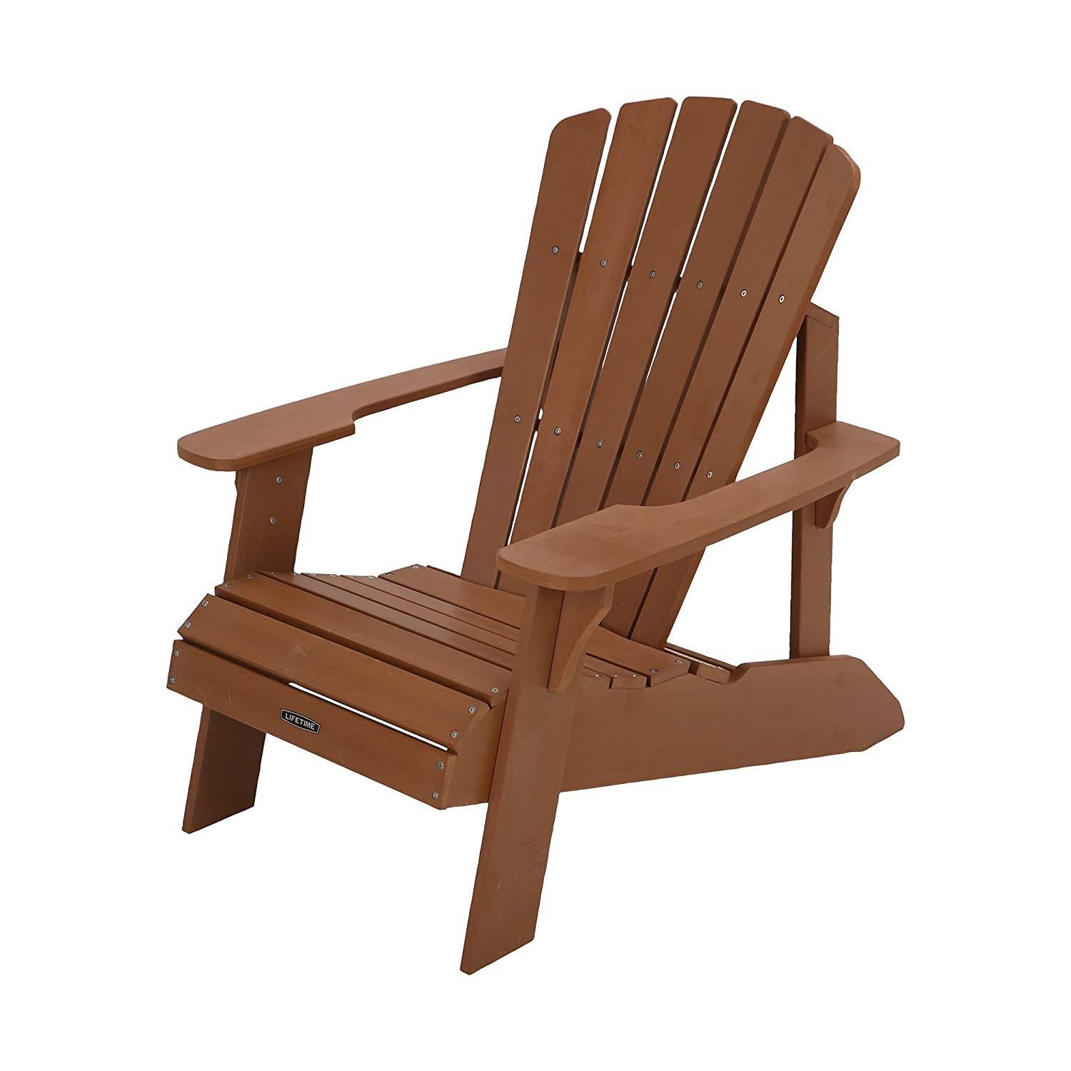 Amazon.com : Lifetime Faux Wood Adirondack Chair, Light Brown ...