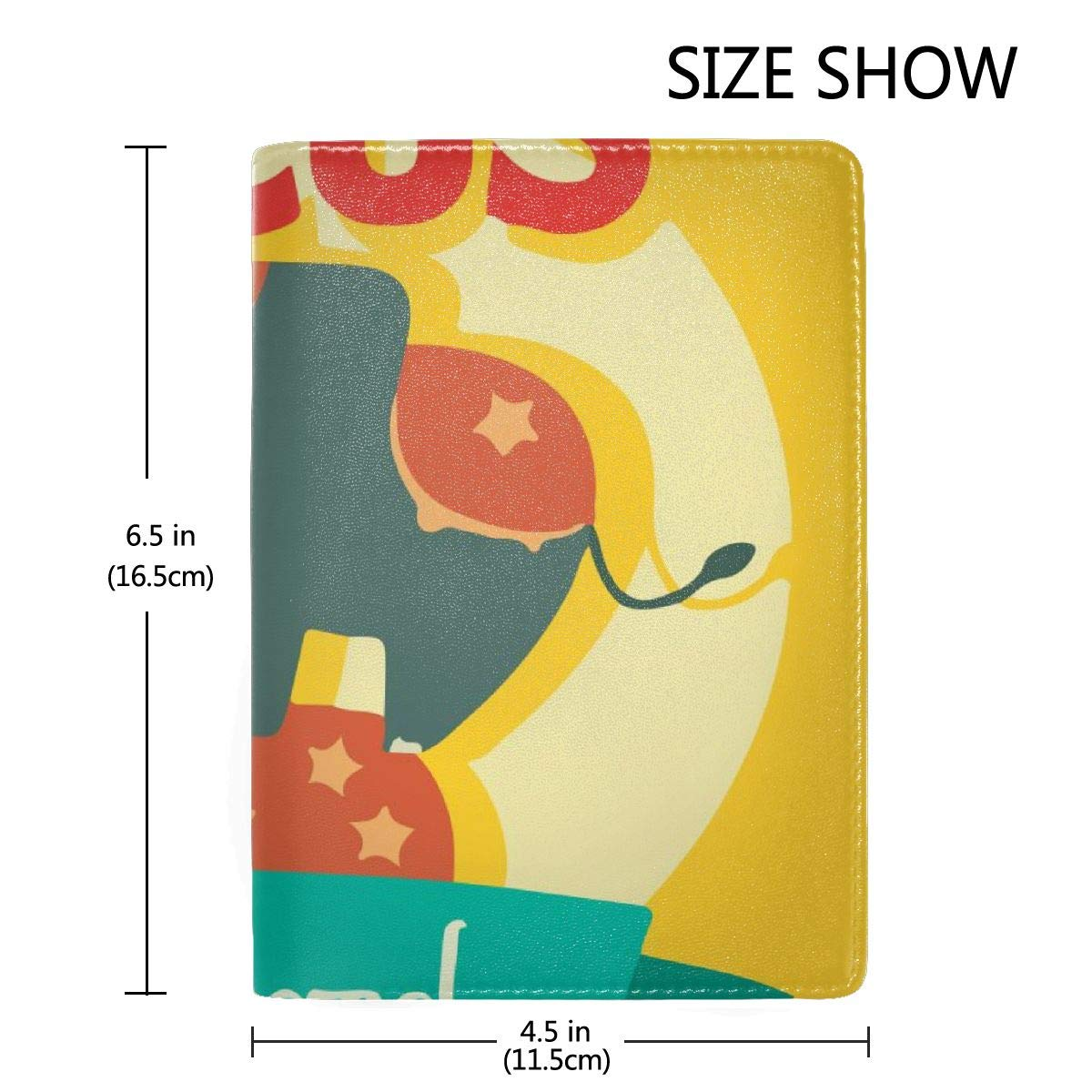 Old Circus Icons Elephant Fashion Leather Passport Holder Cover Case Travel Wallet 6.5 In