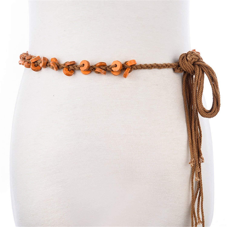 LeNG Fashion Women Adult Braided Women's Belts Woven Rope Cottonwood Buckle Style Belt,165cm,4