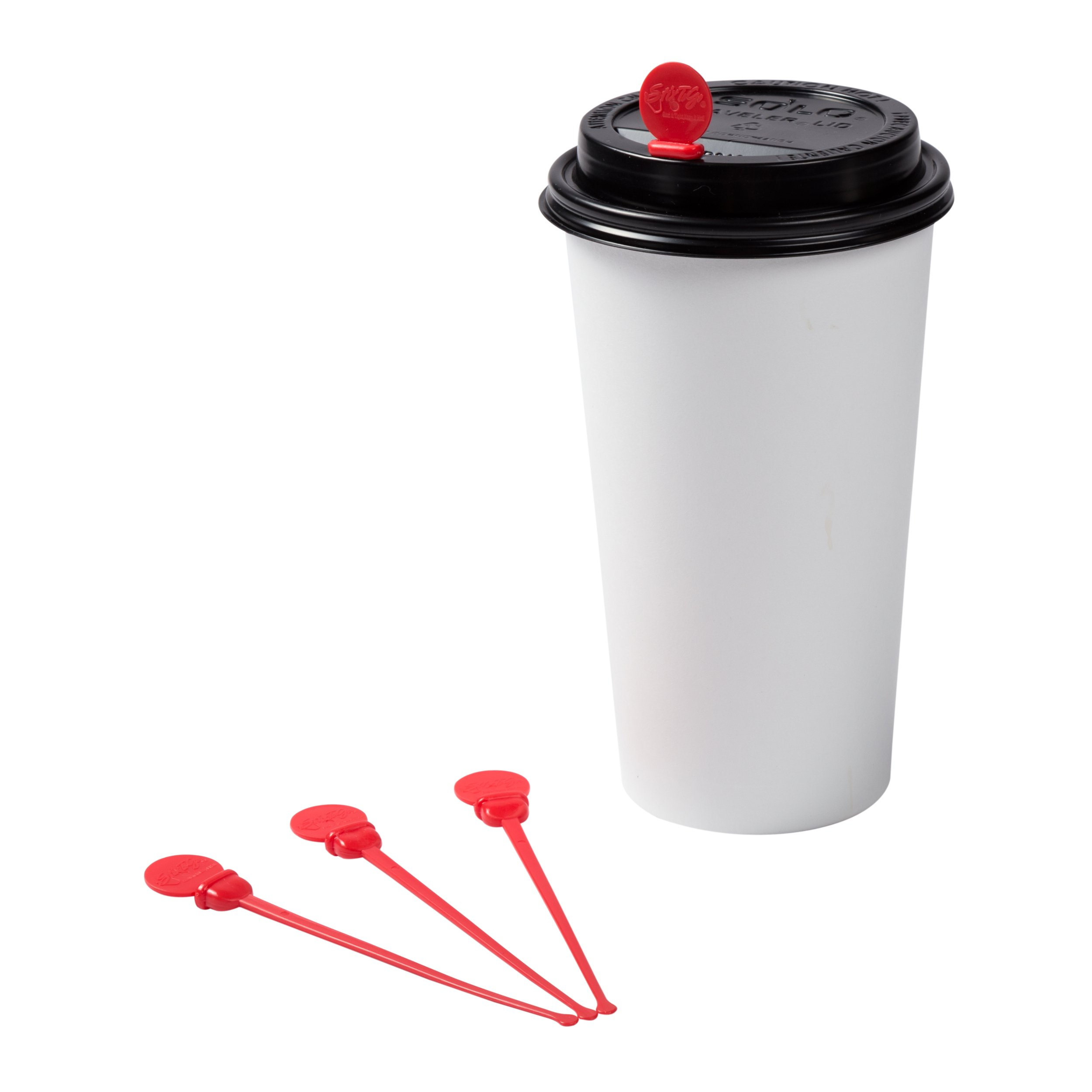 StixToGo 4.75'' Red Stir N Plug Stix for Disposable Lids, Case of 2000 by Royal (Image #3)
