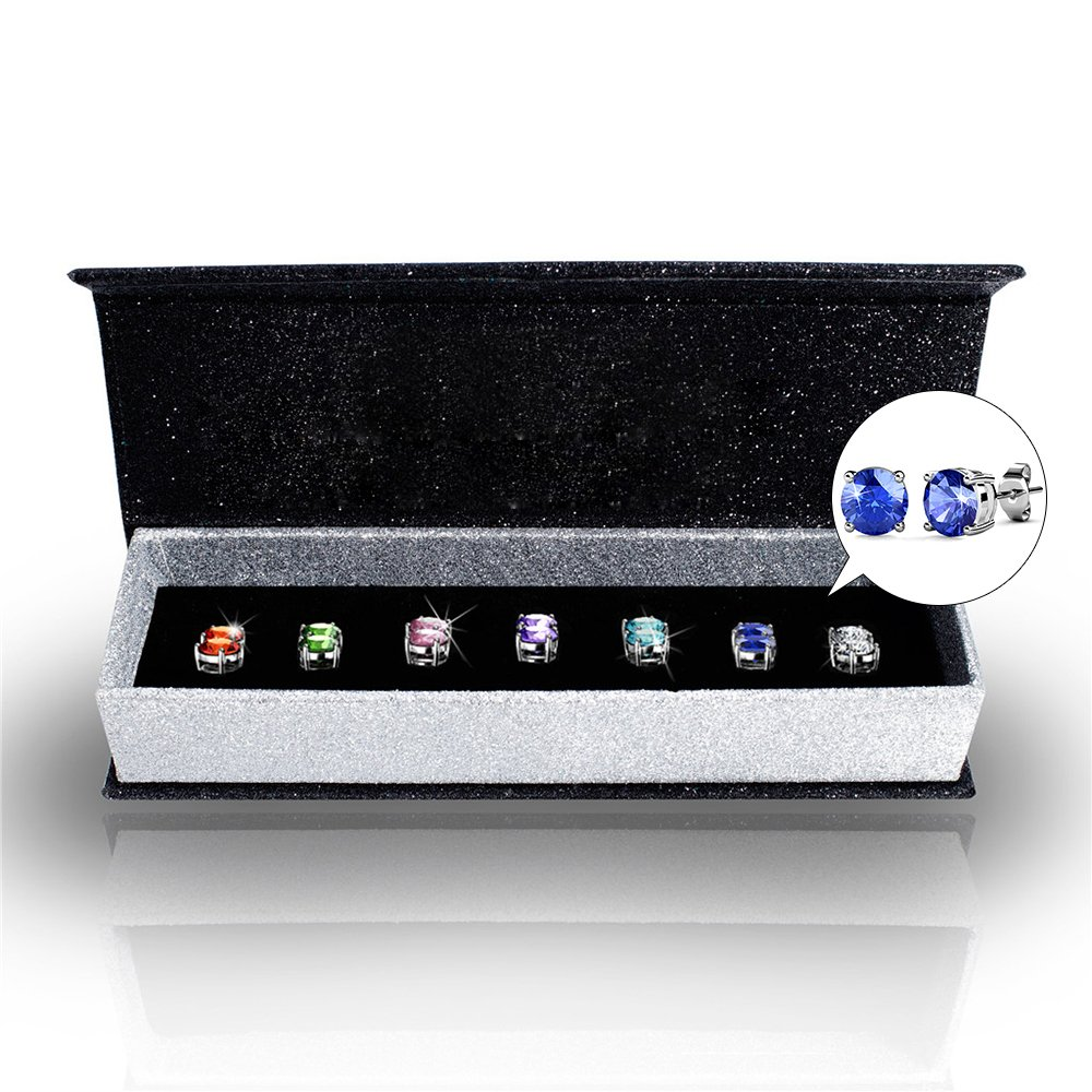 R-timer Womens Swarovski Elements Crystal Stud Earrings Set of 7 Pairs 18K White Gold Plated Earrings