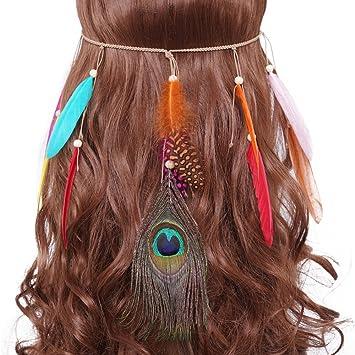 Amazon.com   Indian Feather Headband Tassel Gypsy Festival Wedding Headwear  Bohomia Crown Elastic Rope Hippie Headdress Fancy Headpieces For Women Girls  ... 86997a9fe153