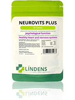 Neurovits Plus (Vitamins B1 B6 B12 & Folic Acid) 90 Tablets by Lindens Apothecary