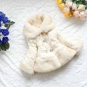 Anik Sunny Baby Girls Toddler Princess Faux Fur Coat Winter Warm Jacket Snowsuit Outwear Clothing