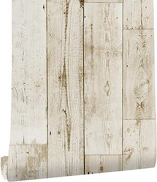 Papel Pintado de Madera Blanco Papel Pintado Autoadhesivo de Grano de Madera Papel Pintado Autoadhesivo Papel de Contacto Decorativo Impermeable F/ácilmente Extra/íble 44 500cm
