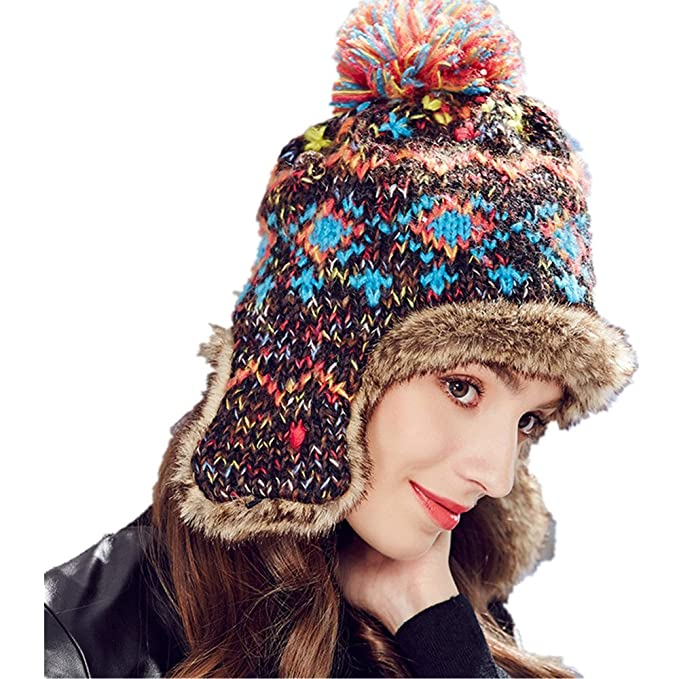 6736fa3ec1d Image Unavailable. Image not available for. Color  Kenmont Winter Women  Ladies Hats Aviator Trapper Cap Hand Knitted ...