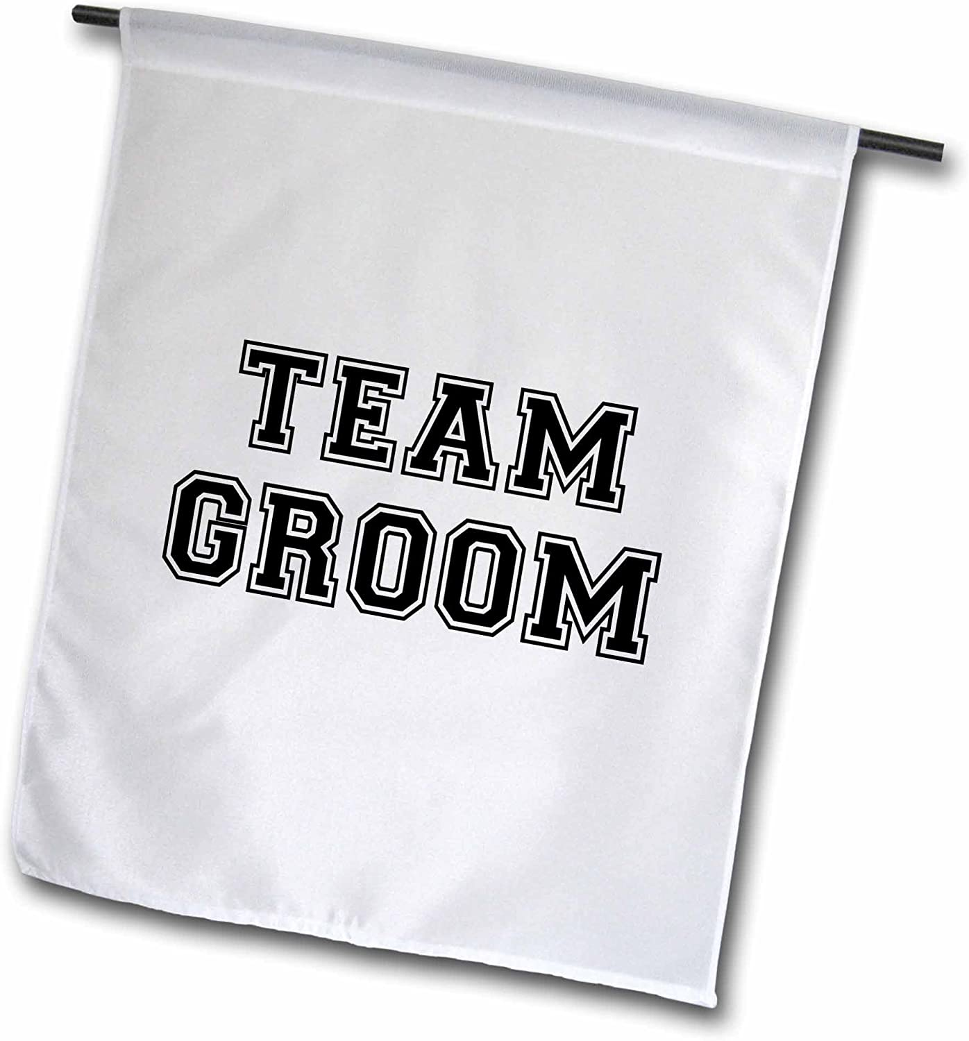 3dRose fl_151269_1 Team Groom-Black Text on White-Bachelor Party Stag Night Gifts-Pre-Wedding Fun Celebrations Garden Flag, 12 by 18-Inch