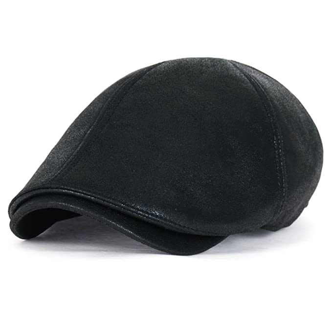 c7c62cf0c ililily New Men's Flat Cap Vintage Cabbie Hat Gatsby Ivy Caps Irish Hunting  Hats Newsboy with Stretch fit (flatcap-001) (XL-Black)