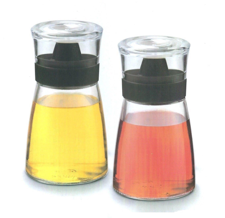 2 Oil & Vinegar Dispenser Cruet Glass Bottle Set - Non-Drip Spout, Air-Tight Cap - 160ml Aminno