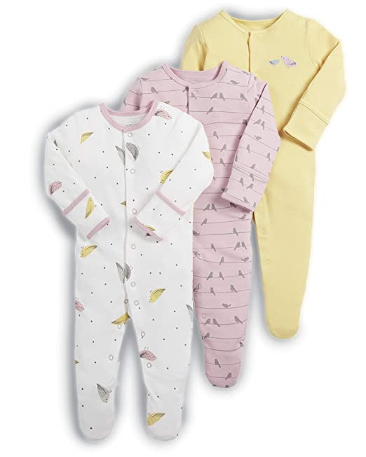 118d7535c Mamas   Papas Baby Girls  Footies Pack of 3  Amazon.co.uk  Clothing