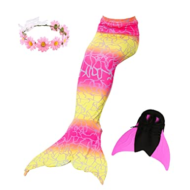 a421e704e15bd 3 Piece Mermaid Tail Swimsuit with Removable Fin Included Monofin and Flower  Headband
