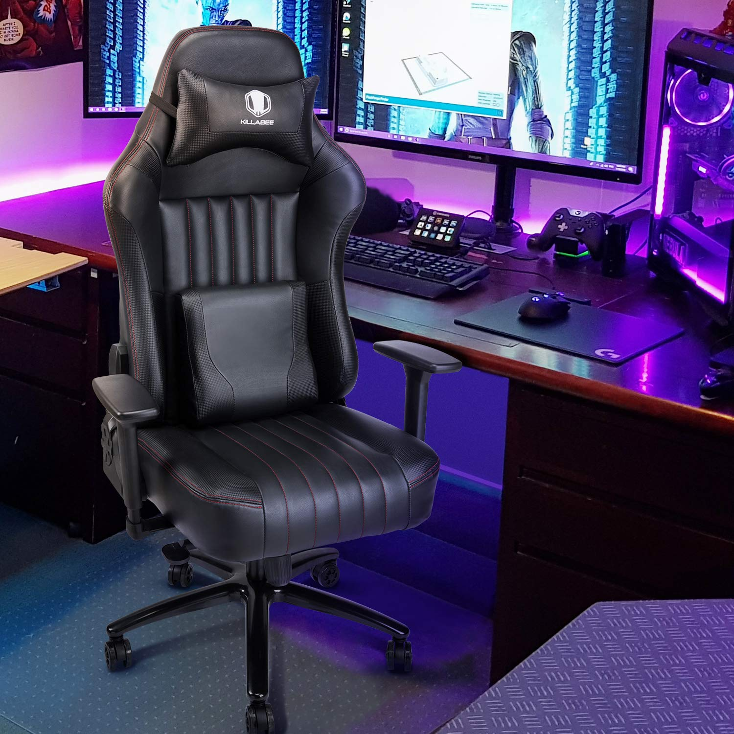 KILLABEE Big and Tall 400lb Memory Foam Gaming Chair - Adjustable Tilt, Back Angle and 3D Arms Ergonomic High-Back Leather Racing Executive Computer Desk Office Chair Metal Base, Black by KILLABEE (Image #7)