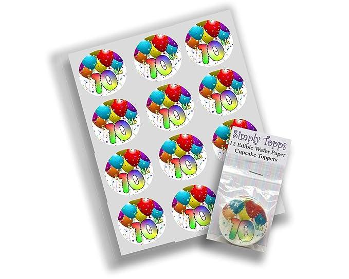 12 adornos de papel de arroz para 10 cumpleaños, diseño de ...