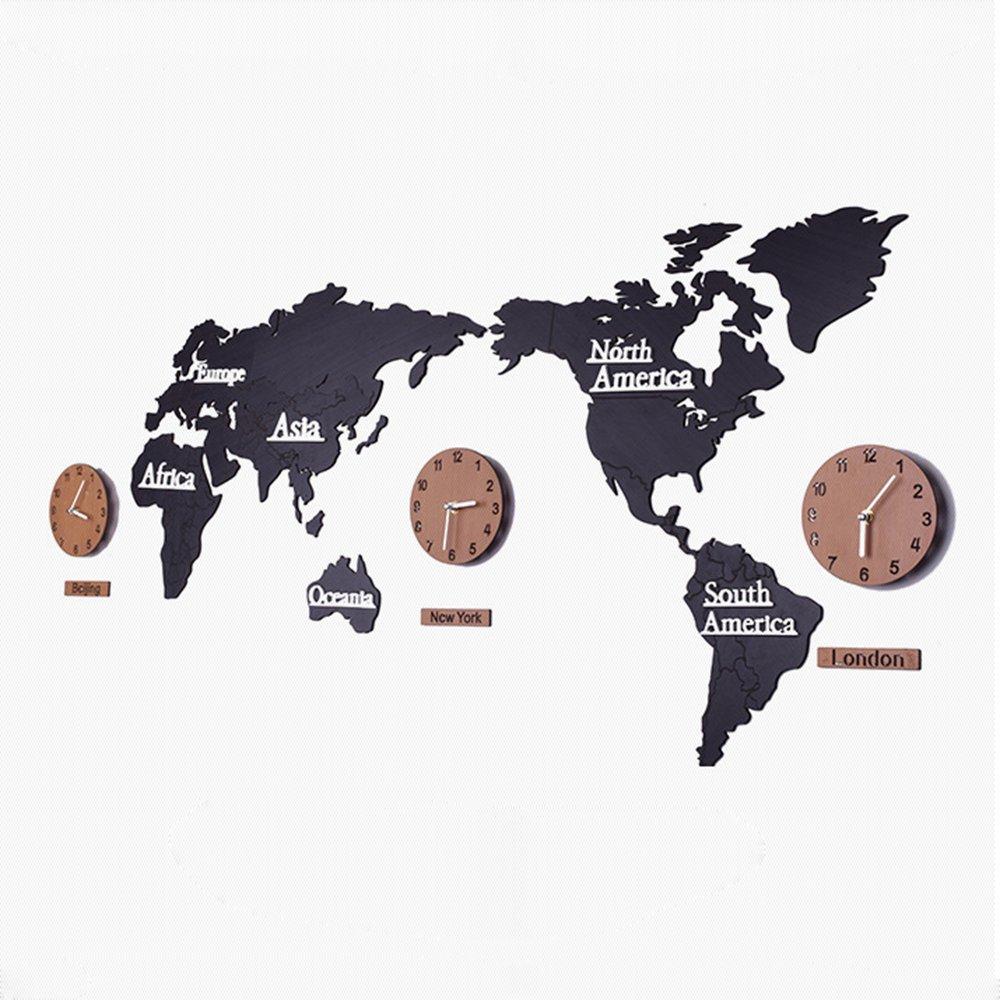 DEBON 木製 DIY 世界地図 連続秒針 スイフトムーブメント ウォールクロック 壁掛時計  (ブラック) B0771GX4GM ブラック ブラック