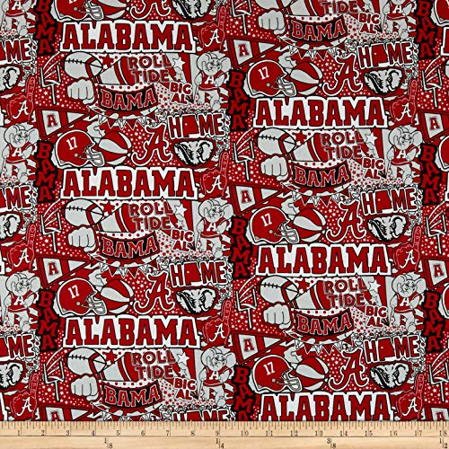 Sykel Enterprises NCAA Alabama Pop Art Cotton TEAM COLOR, Fabric by the Yard