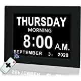 """Digital Calendar Alarm Day Clock, 8"""" Large Screen Display, with 5 Alarm Options, AM/PM Function, for Impaired Vision People,"""