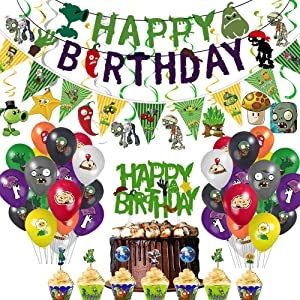 TGE-V Plants VS Zombies Party Banner, Cake Topper, Cupcake Topper, Cup Cake Wrappers, Zombies Triangle Banner,Zombies Hanging Swirls andPVZ Balloons for PVZ Party Supplies Decorations/Kids Room Decor, 119Pcs IN ALL