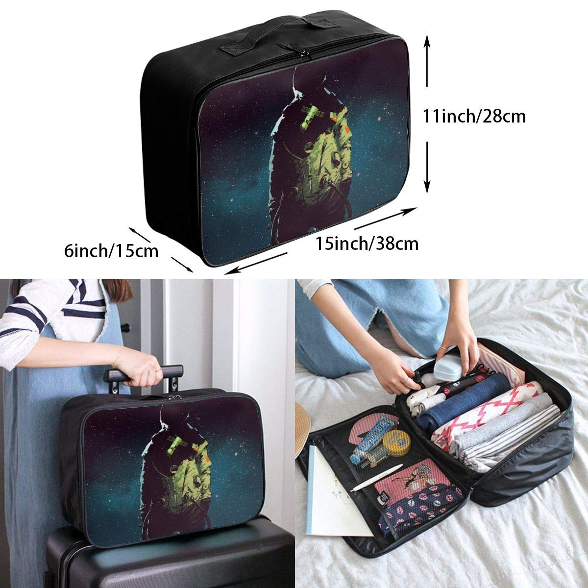 Travel Luggage Duffle Bag Lightweight Portable Handbag Astronaut Print Large Capacity Waterproof Foldable Storage Tote