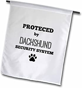 """3dRose Protected by Dachshund Security System - Garden Flag, 12 by 18"""""""