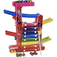 Wishkey Two in One Miniature Gliding Car Wooden Ramp Race Zig-Zag Track Car Set Toy with Xylophone Musical Instrument