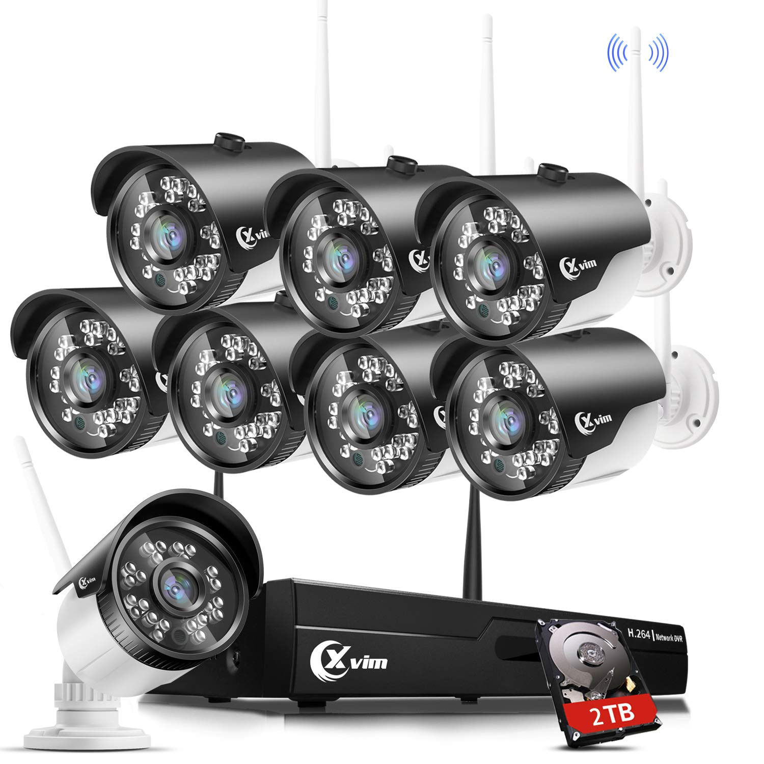 XVIM H.264 2MP Wireless Security Cameras System, 8CH 1080P HD NVR 8pcs 1080P Wireless Outdoor Indoor Waterproof Surveillance Cameras 85FT Night Vision (with 2TB HDD) by X-VIM