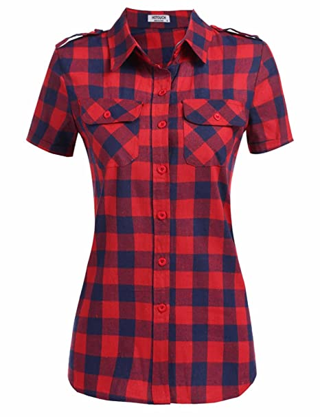 3afac76cf90 Hotouch Women s Classic Loose Boyfriend Plaid Button Down Shirt(Red ...