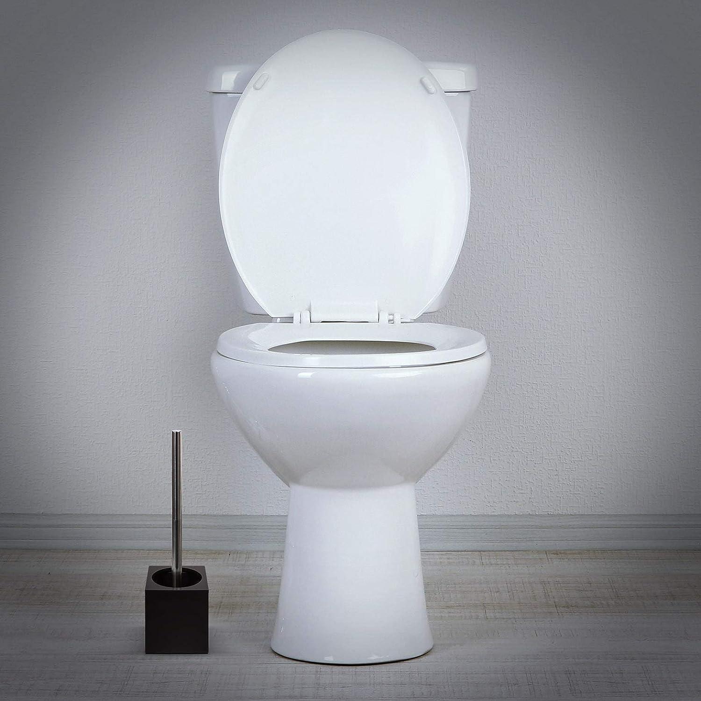 woodluv Ensemble de brosses de Toilettes et Supports carr/és en Bambou Marron fonc/é