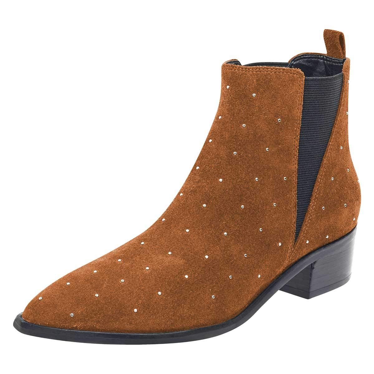 Brown FSJ Women Pointed Toe Studded Chelsea Boots Block Low Heels Comfortable Suede Ankle Booties Size 4-15 US