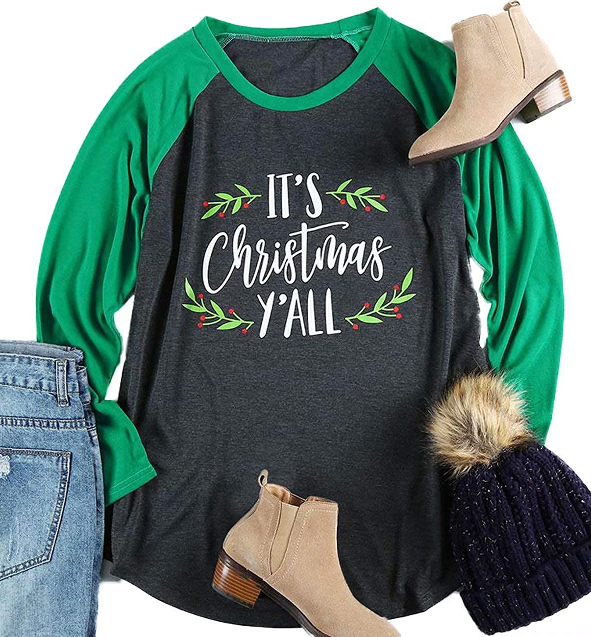 MNLYBABY Plus Size Women It's Christmas Y'all Baseball T-Shirt Long Raglan Sleeve Letters Print Splicing Tops Tees