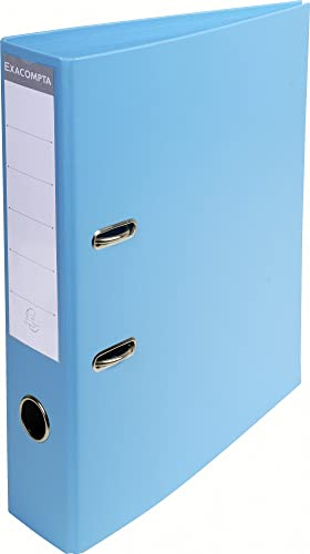Exacompta A4 Prem'Touch PVC Lever Arch File, 2 Ring, 70 mm Spine, Light Blue