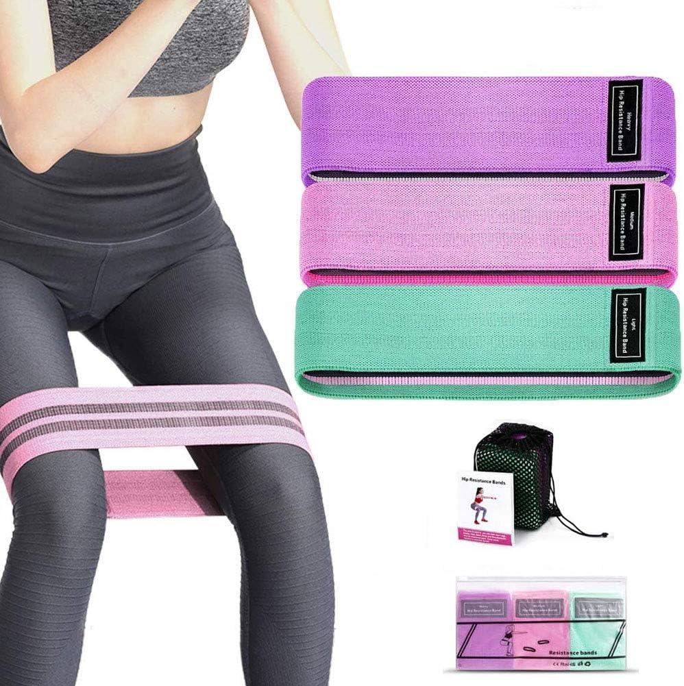 Bandas de Ejercicios de Cadera para Yoga//Crossfit//Entrenamiento de Fuerza//Pilates//Fisioterapia Fitness El/ásticas de Resistencia con Gu/ía de Ejercicios JiuFei Set de 3 Bandas Elasticas Gluteos
