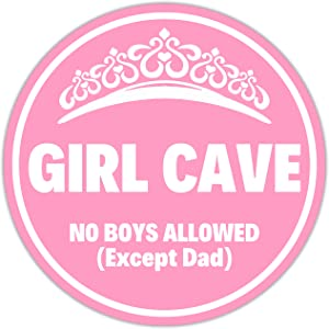 Venicor Girl Cave Sign - 12x12 Inches - Aluminum - No Boys Allowed Sign for Girls - Cute Pink Room Decor for Teen Girls - Princess Bedroom Door Decorations Baby Girl Toddler Nursery Things Stuff