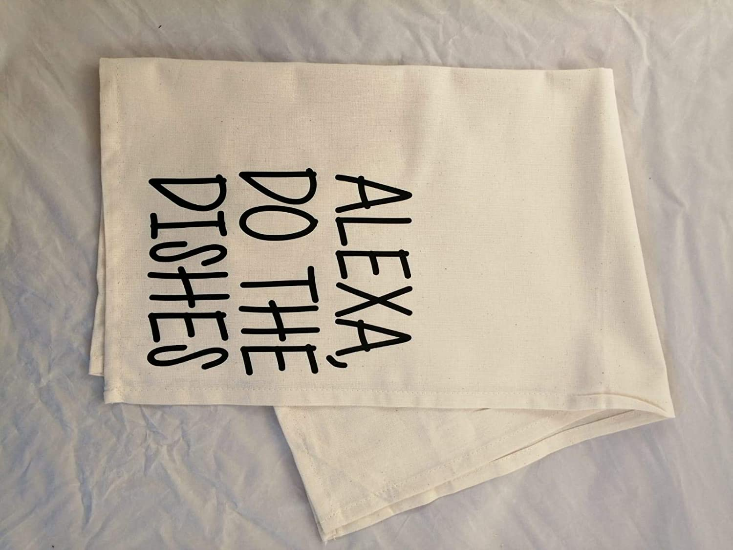 WillowGifts Alexa Do The Dishes Tea Towel Natural Kitchen Cloth Drying Home Present Gift House