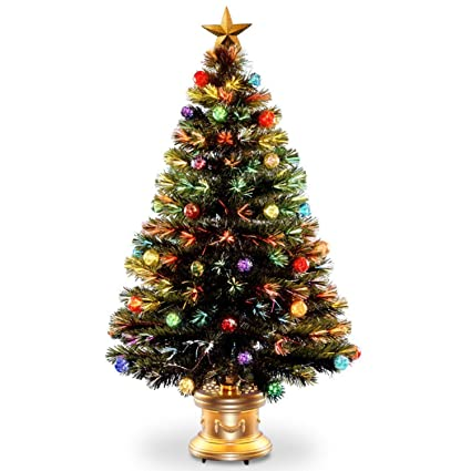 4' Pre-lit Potted Fiber Optic Artificial Christmas Tree with Firework Ball  Ornaments – - Amazon.com: 4' Pre-lit Potted Fiber Optic Artificial Christmas Tree