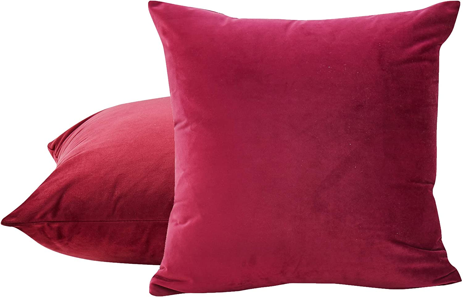 Amazon Com Sleep Mantra Decorative Couch Cushion Cover 2 Piece Set Solid Wine Smooth Velvet Throw Pillow Covers For Home Decor 20x20 Inch Cushion Cases For Bedroom Sofa Car Home Kitchen
