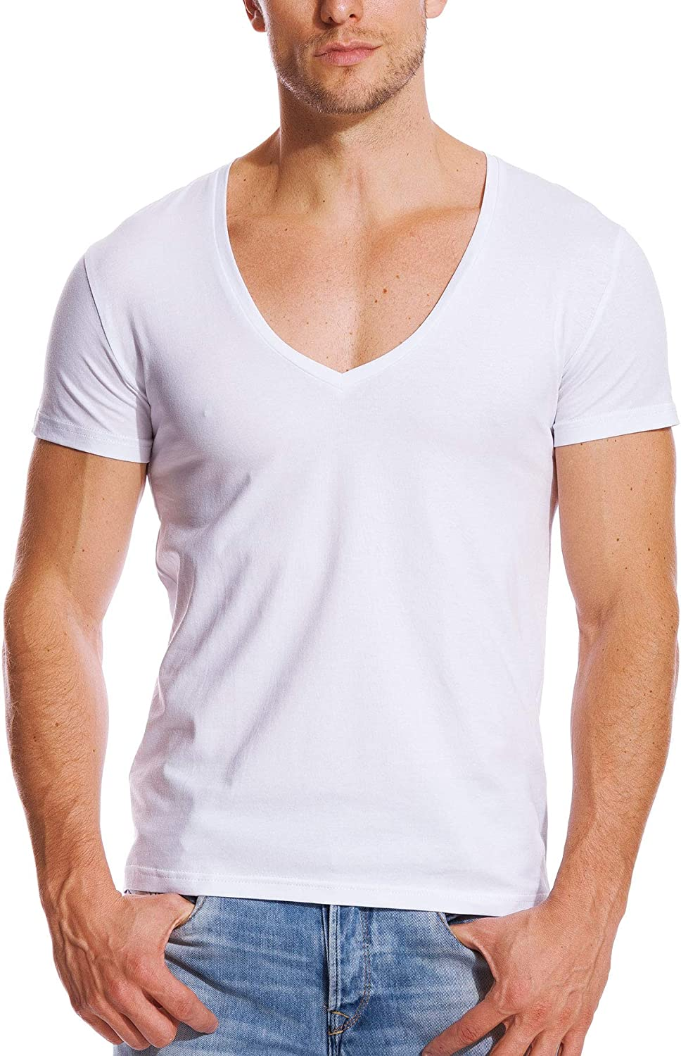 Zbrandy Deep V Neck Shirts Men Low Cut T Shirts Short Sleeve Tee Top Stretch Undershirts Amazon Ca Clothing Accessories