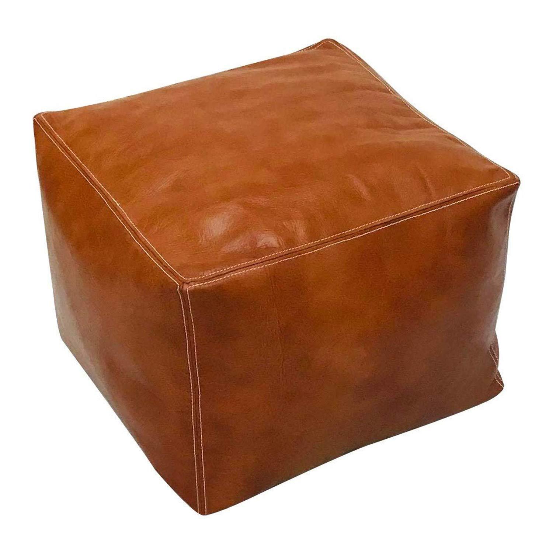 ArtOuarzazate Moroccan Square Poufs Handmade - Comfortable Ottoman & Footrest - Natural Brown (Light Tan) by ArtOuarzazate