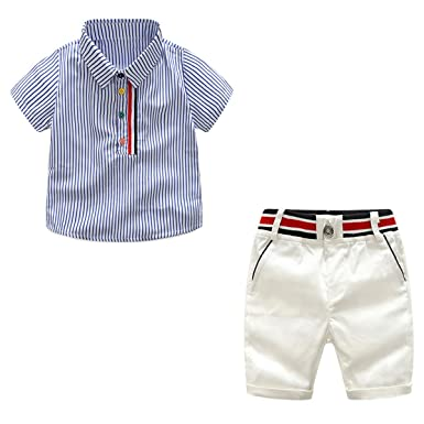 9507531f44c6 Little Boys Summer Outfits Stripe Short Sleeve Shirts + White Shorts 2  Piece Gentleman Clothes Suit
