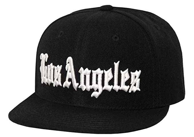 Old English Font Los Angeles Embroidered Flat Bill Snapback (Black ... 08167e5867b0
