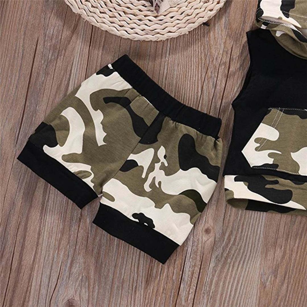 Pantalones Cortos 2pc//Set 2018 beb/é de Verano de ni/ños de Camuflaje Camisa sin Mangas con Capucha Dragon868 Conjuntos de Ropa