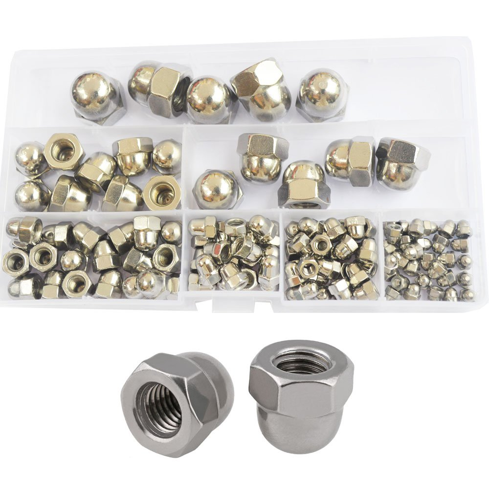 Acorn Cap Nut Hex Head Dome Metric M3 M4 M5 M6 M8 M10 M12 Assortment Kit 120pcs,304Stainless Steel