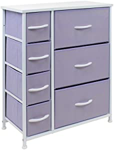 Sorbus Dresser with 7 Drawers - Furniture Storage Chest for Kid's, Teens, Bedroom, Nursery, Playroom, Clothes, Toys - Steel Frame, Wood Top, Fabric Bins (Pastel Purple)